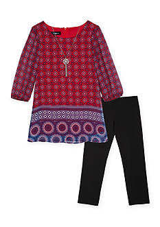 Amy Byer Girls 7-16 Chiffon Printed Top And Legging Set