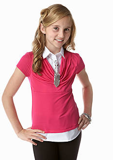 Amy Byer Collared Top with Tie Necklace Girls 7-16