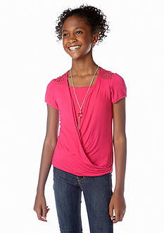 Amy Byer Wrap Necklace Top Girls 7-16