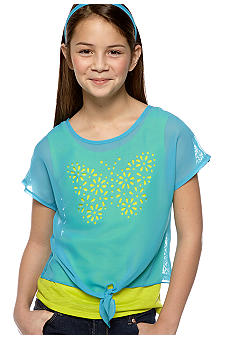 Amy Byer Butterfly Cutout Popover Top Girls 7-16