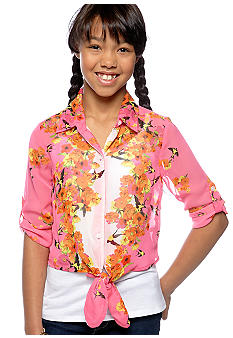 Amy Byer Floral Tie Shirt Girls 7-16