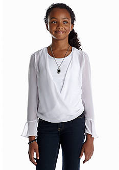 Amy Byer Twist Body Chiffon Top Girls 7-16