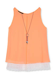 Amy Byer Lace Peekaboo Chiffon Tank Top Girls 7-16