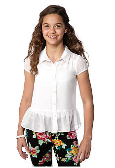 Amy Byer Chiffon Collar Peplum Top Girls 7-16