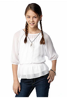 Amy Byer Chiffon Peplum Necklace Top Girls 7-16
