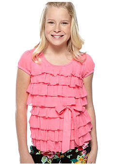 Amy Byer Solid Tier Tie Front Shirt Girls 7-16