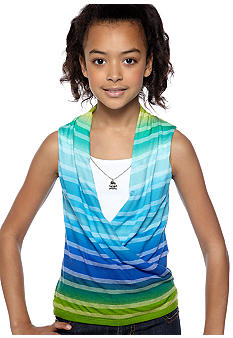 Amy Byer Stripe 2fer Top & Necklace Girls 7-16