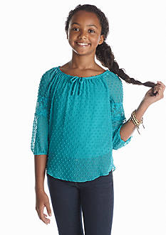 Amy Byer Swiss Dot Chiffon Top Girls 7-16