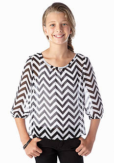 Amy Byer Chevron Chiffon Top Girls 7-16
