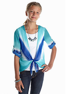 Amy Byer Dip Dye Chiffon Tie Top Girls 7-16