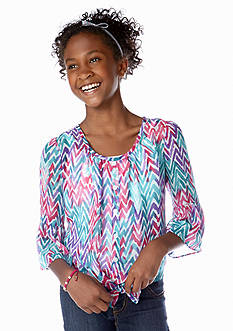 Amy Byer Chevron Tie Front Peasant Top Girls 7-16