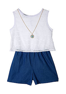 Amy Byer Lace To Chambray Romper Girls 7-16