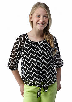 Amy Byer Chevron Tie Front Top Girls 7-16