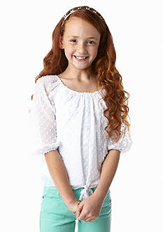 Amy Byer Dobby Tie Front Shirt Girls 7-16