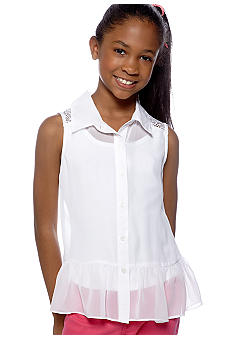 Amy Byer Lacey-Back Button Down Top Girls 7-16