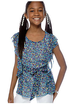 Amy Byer Printed Butterfly Sleeve Top Girls 7-16