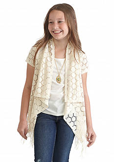 Amy Byer Crochet Lace Fringe Cozy Girls 7-16