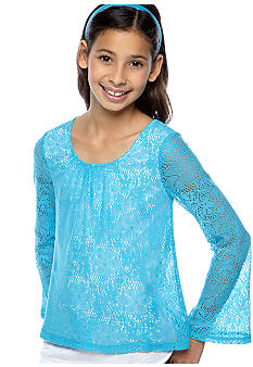 Amy Byer Lace Popover Top Girls 7-16