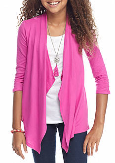 Amy Byer Lace Back Attached Cardigan and Tank with Necklace