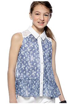 Amy Byer Button Down Top Girls 7-16