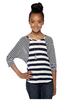 Amy Byer Striped Top With Necklace Girls 7-16
