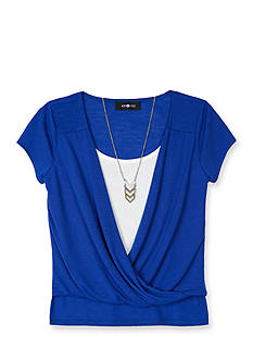 Amy Byer Solid Knit Twist Front Top Girls 7-16