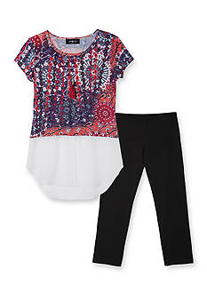 Amy Byer 2-Piece Printed Top and Legging Set Girls 7-16