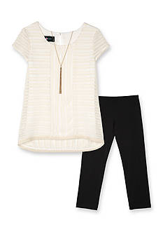 Amy Byer 2-Piece Texture Top and Legging Set Girls 7-16