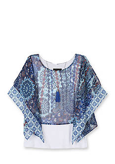 Amy Byer Printed Poncho Popover Top Girls 7-16