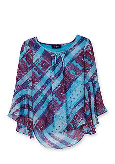 Amy Byer Printed Chiffon Bell Sleeve Top Girls 7-16