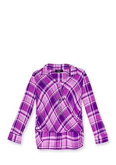 Amy Byer Plaid Mock Wrap Shirttail Top Girls 7-16