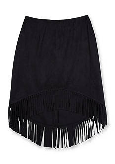 Amy Byer Fringe Trim Suede Skirt High Low Girls 7-16