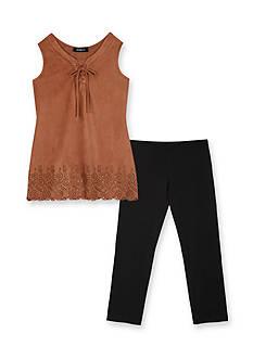 Amy Byer 2-Piece Lace Up Lazer Cut Tunic & Legging Set Girls 7-16