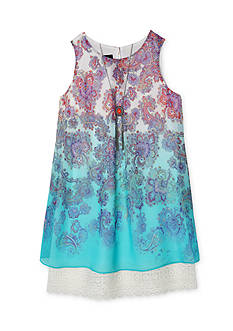 Amy Byer Paisley Printed Chiffon Shift Dress Girls 7-16