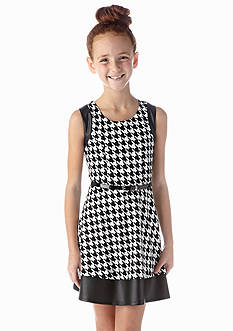 Amy Byer Houndstooth Faux Leather Skater Dress Girls 7-16