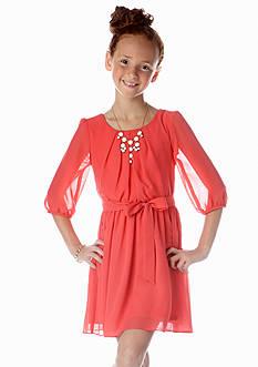 Amy Byer Solid Chiffon Necklace Dress Girls 7-16
