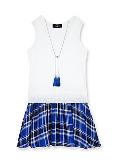 Amy Byer 2-Fer Plaid Skirted Dress & Necklace Girls 7-16