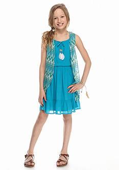 Amy Byer 2-Piece Cozy Flounce Gauze Dress Girls 7-16