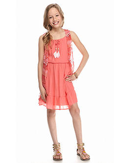 Amy Byer 2-Piece Cozy Flounce Gauze Dress Girls 7-16