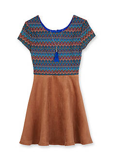 Amy Byer Crochet to Suede Skirt Dress Girls 7-16