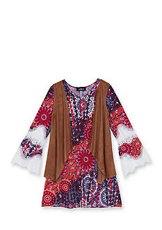 Amy Byer 2-Piece Printed Dress & Suede Vest Set Girls 7-16