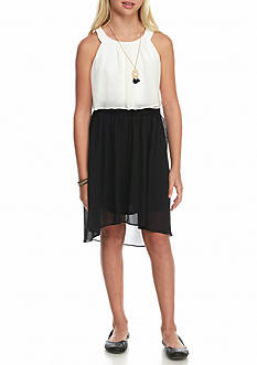 Amy Byer High-Low Chiffon Popover Dress with Necklace Girls 7-16