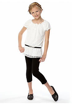 Amy Byer Lace Belt Legging Set Girls 7-16
