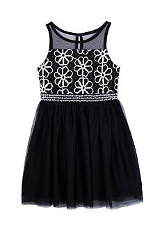 Amy Byer Girls 7-16 Illusion Bodice Dress Over Mesh Skirt