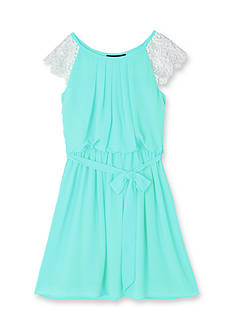 Amy Byer Crochet Chiffon Dress Girls 7-16