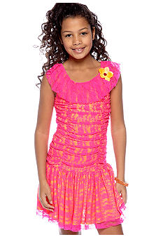 Amy Byer Neon Lace U-Neck Dress Girls 7-16