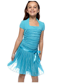 Amy Byer Glitter Pleated Bolero Girls 7-16