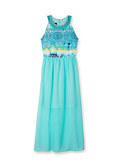 Amy Byer Jewel Neck Textured Maxi Dress Girls 7-16