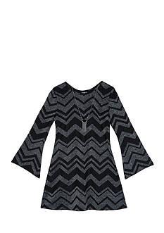 Amy Byer 7-16 Girls Lurex Chevron Print Bell Sleeve Dress