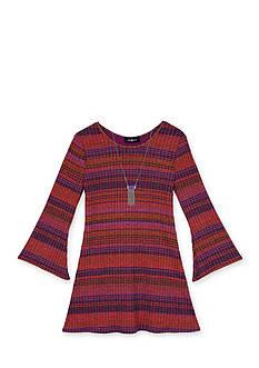 Amy Byer Girls 7-16 Stripe Knit Dress With Necklace